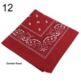 Bandana / boerenzakdoek Donker Rood (100% katoen - 012)