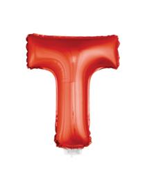 Folie Letter T - 41 cm Rood (met stokje)