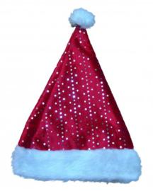 Kerstmuts rood met zilver paillettenmotief (90073E)
