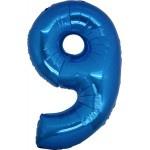 Folie Cijfer 9 - 100 cm Blauw