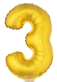 Folie Cijfer 3 - 41 cm Goud (met stokje)