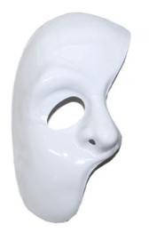 Wit halfmasker met elastiek (61330E)