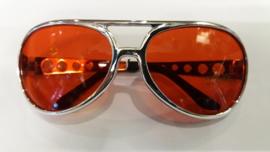 Elvis bril Zilver - rode glazen Luxe (3000MG)