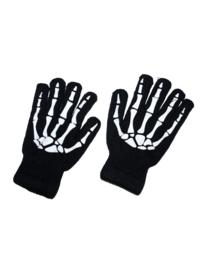 Handschoenen zwart skelet VOLWASSENE (60365E)