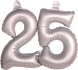 Cijfer 25 Zilver opblaasbaar - 35 cm (20051F)
