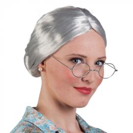 Pruik grootmoeder/oma grijs met knotje (86180B)