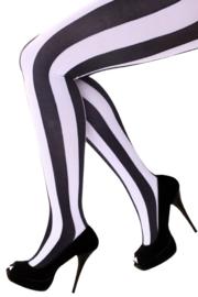 Panty verticale strepen zwart en wit one size (11305P)