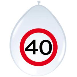 Ballonnen 40 jaar verkeersbord (30cm, 8 stuks)