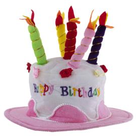 Feestmuts / hoed Happy Birthday ROZE (63532E)