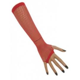 Nethandschoenen lang vingerloos Rood (60431E)
