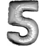 Folie Cijfer 5 - 66 cm Zilver