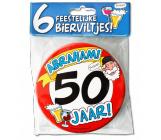Bierviltjes verkeersbord 50 jaar Abraham - 6 stuks