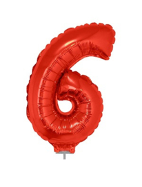 Folie Cijfer 6 - 41 cm Rood incl. stokje (85040E)