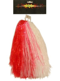 Pom pom cheerleader rood/wit (84696P)