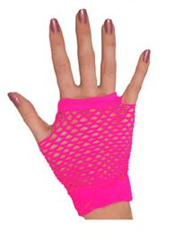 Nethandschoenen kort vingerloos Neon Roze (80063E)
