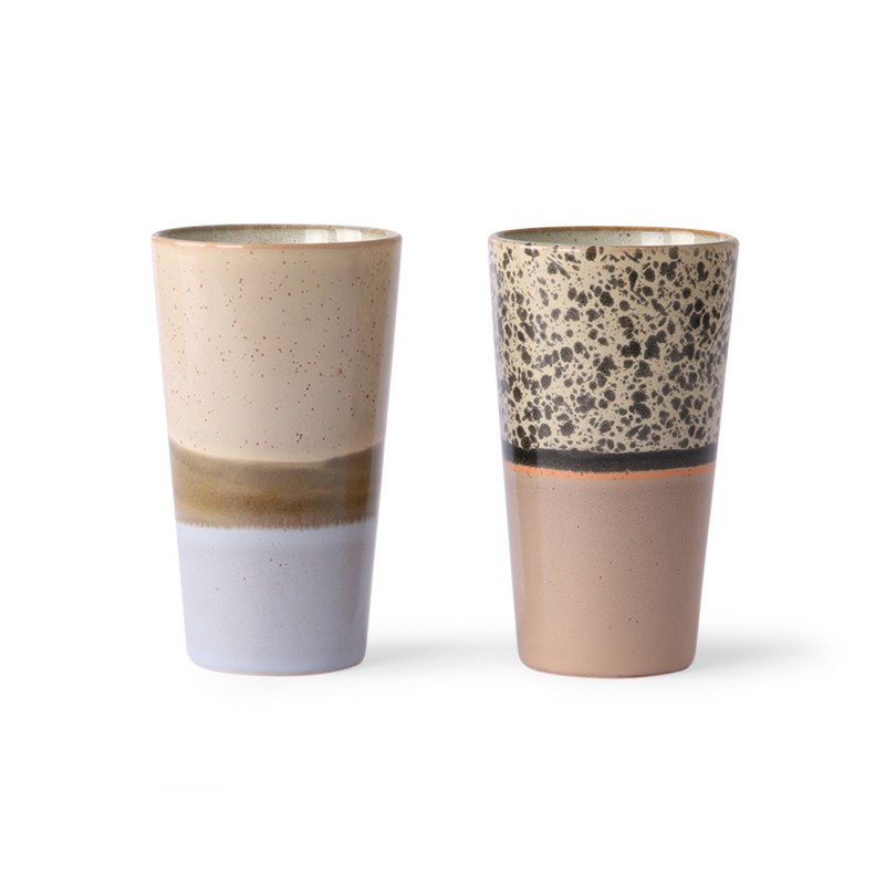 Ceramic 70's latte mugs || HK Living