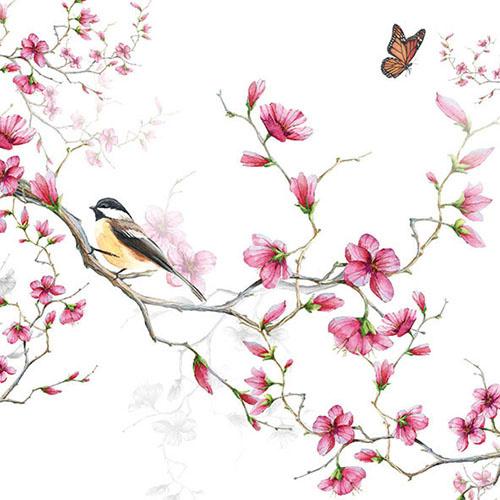 Ambiente Cocktailservet 25x25 Bird & Blossom White