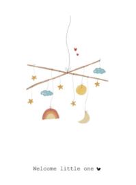 Wenskaart   Nadine Illustraties   Muziekmobiel   Welcome Little One