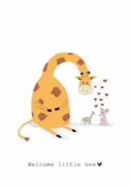 Wenskaart   Nadine Illustraties   Giraffe en Muis   Welcome Little One