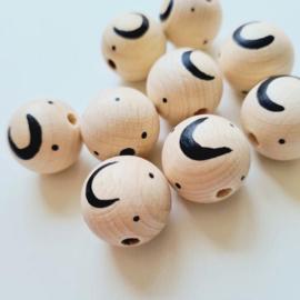 Houten kraal | Doll van Joyce | Maantje zwart en blank