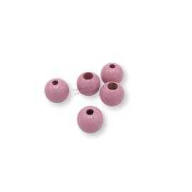 Gekleurde houten verstop-je-knoopje kraal - Roze