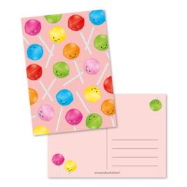 Wenskaart | Studio Schatkist | Patroon lolly's (roze)