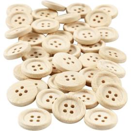 Houten knopen | 18 mm | 40 stuks