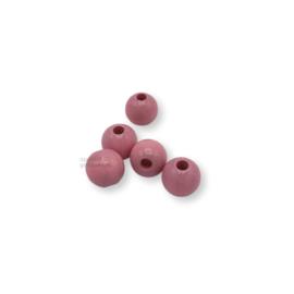 Gekleurde houten kraal - Roze