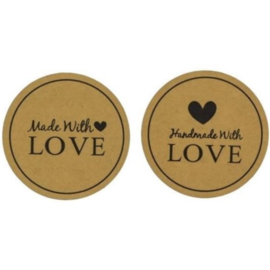 Stickers | Handmade with love | Kraft | 12 stuks