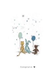 Wenskaart   Nadine Illustraties   Blauwe knuffels   Congrats