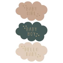 Stickers | Wolkjes met geboorteteksten | 10 stuks