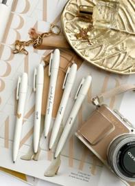 Pennen | Stationery & Gift | Wit met quotes | 4 stuks