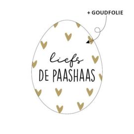 Stickers | Liefs, de Paashaas | Wit/goud | 10 stuks