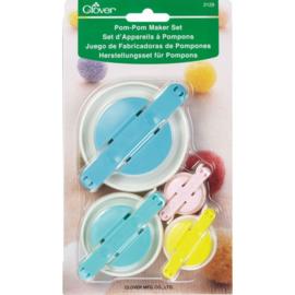 Clover Pompon maker set S + L | 3.5, 4.5, 6.5 en 8.5 cm