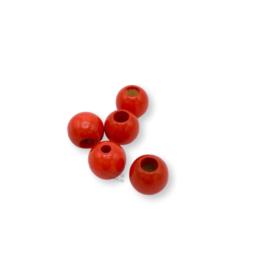 Gekleurde houten verstop-je-knoopje kraal - Rood