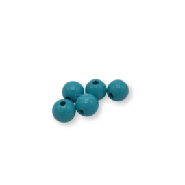 Gekleurde houten kraal - Turquoise