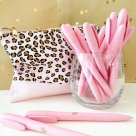 Pennen | Stationery & Gift | Roze met gouden hartje | 4 stuks