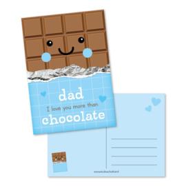 Wenskaart   Studio Schatkist   Dad I love you more than chocolate
