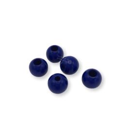 Gekleurde houten verstop-je-knoopje kraal - Donkerblauw