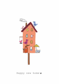 Wenskaart | Nadine Illustraties | Vogelhuisje | Happy New Home