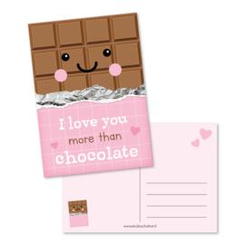 Wenskaart   Studio Schatkist   I love you more than chocolate
