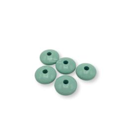 Gekleurde houten schijfkraal - Mint
