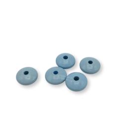 Gekleurde houten schijfkraal - Babyblauw