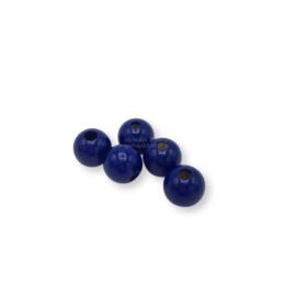 Gekleurde houten kraal - Donkerblauw