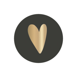 Stickers | Hartje | Zwart met gouden hart | 10 stuks