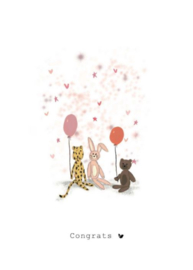 Wenskaart   Nadine Illustraties   Roze knuffels   Congrats