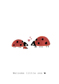 Wenskaart | Nadine Illustraties | Lieveheersbeestjes | Welcome Little One