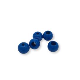 Gekleurde houten verstop-je-knoopje kraal - Middelblauw