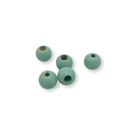 Gekleurde houten verstop-je-knoopje kraal - Mint