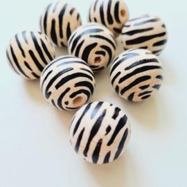 Houten kraal | Doll van Joyce | Zebraprint zwart en blank